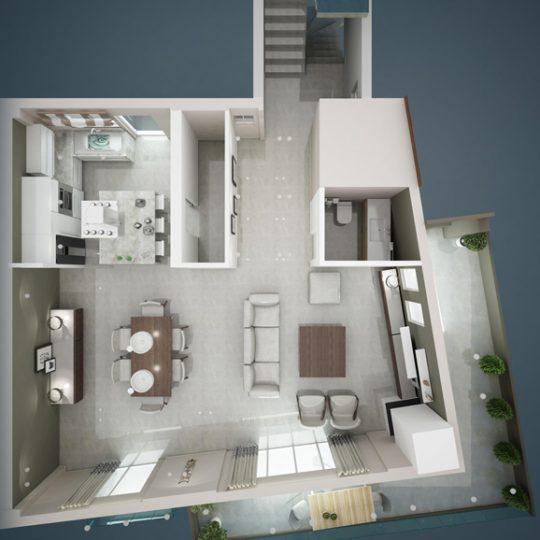 Τρισδιάστατη κάτοψη διώροφης κατοικίας