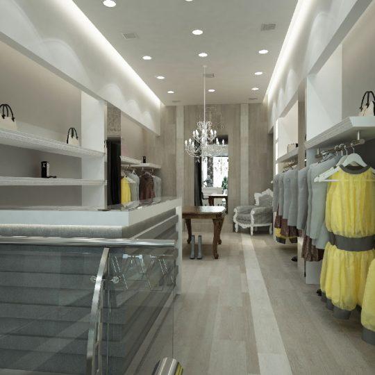 Διακόσμηση καταστήματος ρούχων με μαρμάρινο πάγκο και βινυλικό δάπεδο