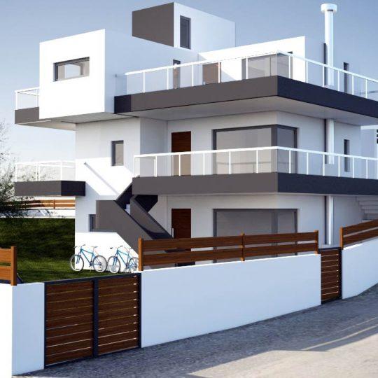 Πολυτελής διώροφη κατοικία με σχεδιασμό εξωτερικής περίφραξης από ξύλο