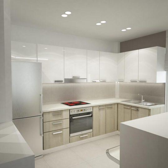 Φωτορεαλιστική απεικόνιση κουζίνας με πάγκο από γρανίτη και διακόσμηση με ξύλινη επένδυση