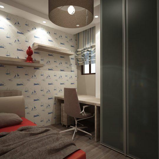 Κρεβατοκάμαρα με δίφυλλη γυάλινη ντουλάπα